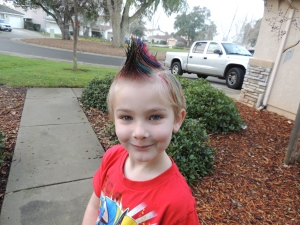 My lil' Joe all mohawked out for Crazy Hair Day at school.